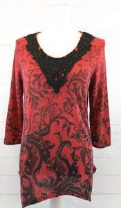 Onque Casual Red and Black Tunic shirt, medium
